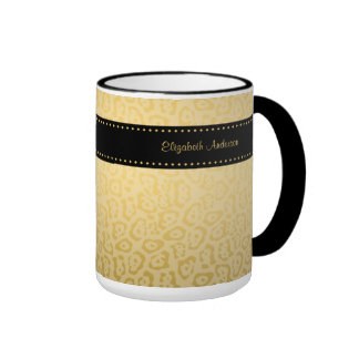 Luxury Black and Gold Jaguar Print With Name Ringer Coffee Mug