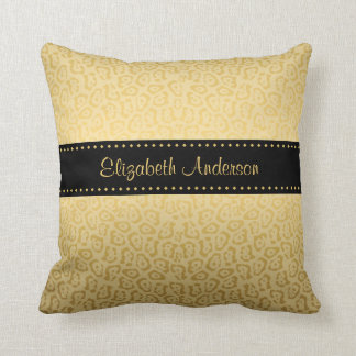 Luxury Black and Gold Jaguar Print With Name Throw Pillow