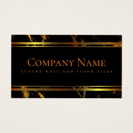 Luxury Black and Gold Marble Floor and Wall Tiler Business Cards Template