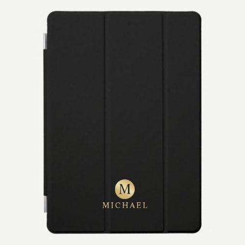Luxury Black and Gold Personalized Monogram iPad Pro Cover