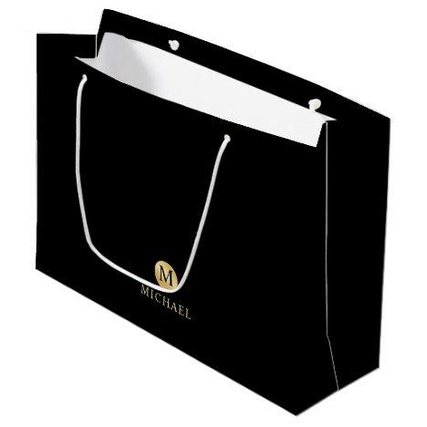 Luxury Black and Gold Personalized Monogram Large Gift Bag