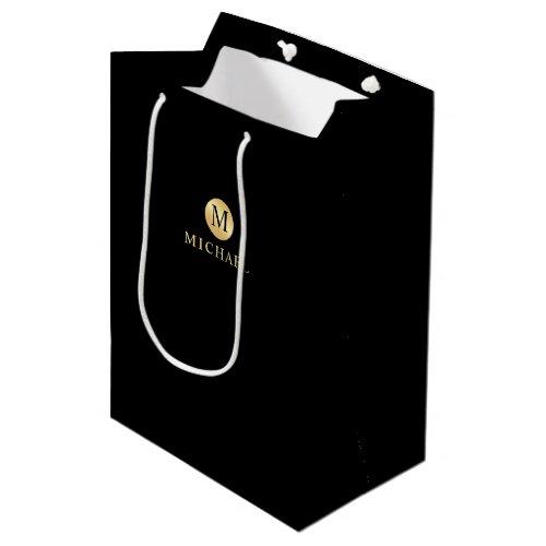 Luxury Black and Gold Personalized Monogram Medium Gift Bag