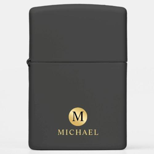 Luxury Black and Gold Personalized Monogram Zippo Lighter