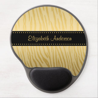 Luxury Black and Gold Tiger Stripes With Name Gel Mouse Mat