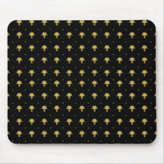 Luxury Black and Gold Vintage Damask Pattern Mouse Pad