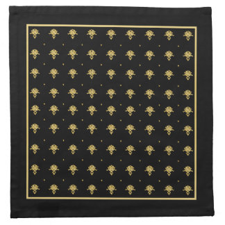 Luxury Black and Gold Vintage Damask Pattern Napkin