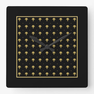 Luxury Black and Gold Vintage Damask Pattern Square Wall Clocks