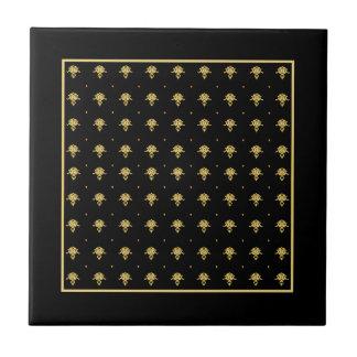 Luxury Black and Gold Vintage Damask Pattern Tile