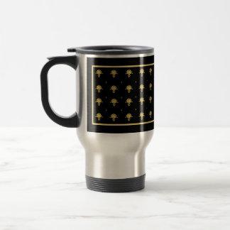 Luxury Black and Gold Vintage Damask Pattern Travel Mug