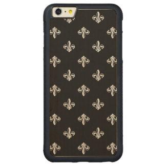 Luxury Black and White Fleur-de-lis Pattern Carved Maple iPhone 6 Plus Bumper Case