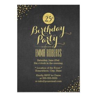 Luxury Black & Gold Birthday Party Card