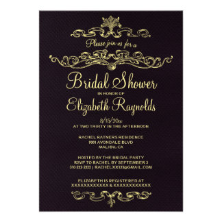 Luxury Black & Gold Bridal Shower Invitations Personalized Announcement