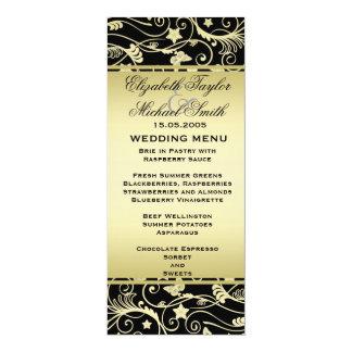 Luxury Black Gold Floral Swirls Wedding Menu Personalized Invite