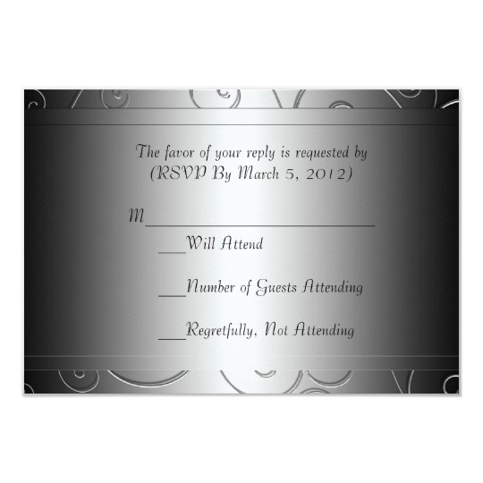 Luxury Black Grey Damask Swirls RSVP card