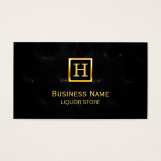 Luxury Black Quilted Leather Liquor Business Card