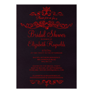 Luxury Black & Red Bridal Shower Invitations Announcements