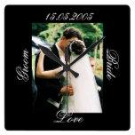 Luxury Black Wedding Photo Kiss Clock Wallclocks
