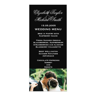 Luxury Black Wedding Photo Kiss Wedding Menu Card