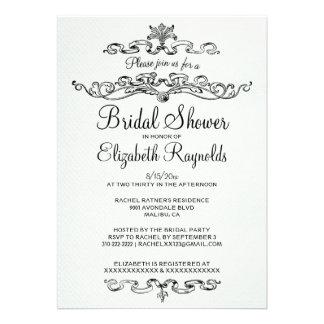 Luxury Black & White Bridal Shower Invitations Invite