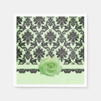 Luxury Bloom Rose Green Damask Napkins