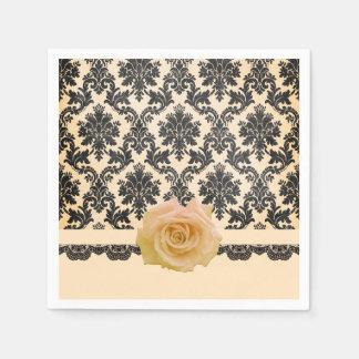 Luxury Bloom Rose Victorian Damask Napkins