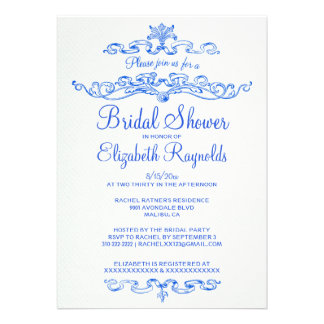 Luxury Blue Bridal Shower Invitations Personalized Invites