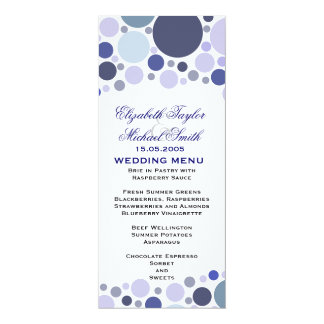 Luxury Blue Color Circle Wedding Menu Card
