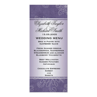 Luxury Blue Damask Floral Wedding Menu Card