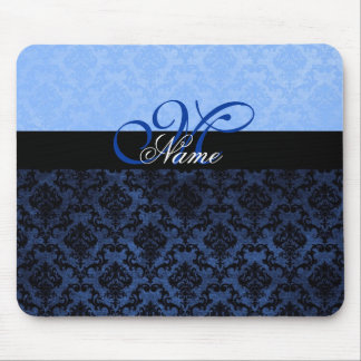 Luxury Blue Damask Monogram Mousepad