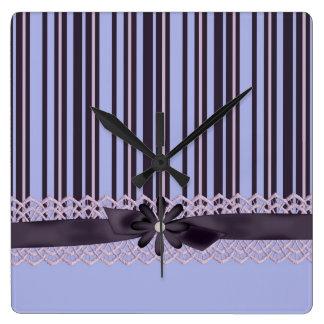 Luxury Blue Dream Ribbon Damask Clock
