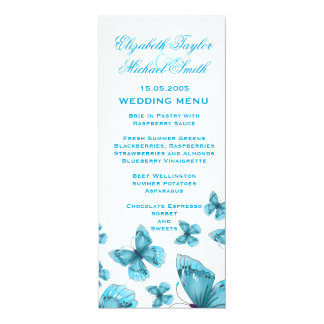 Luxury Blue Elegant Butterfly Wedding Menu Card