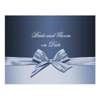 Luxury Blue Elegant Ribbon Save date card