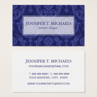 Luxury blue floral damask wallpaper business card