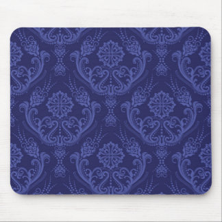 Luxury blue floral damask wallpaper mouse pad