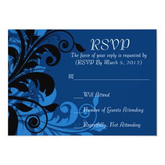 Luxury Blue Floral Swirls Ornaments RSVP card