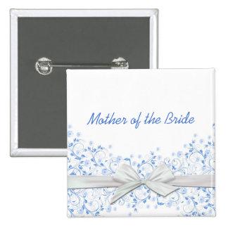 Luxury Blue Floral Swirls Ribbon Button