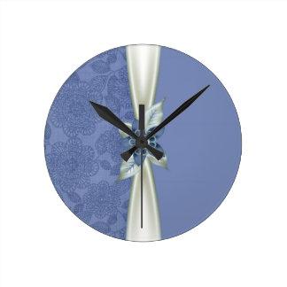 Luxury Blue Flower Ribbon Damask Clock