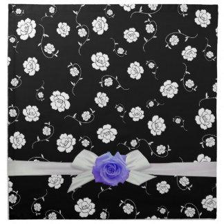 Luxury Blue Garden Rose Damask Napkins