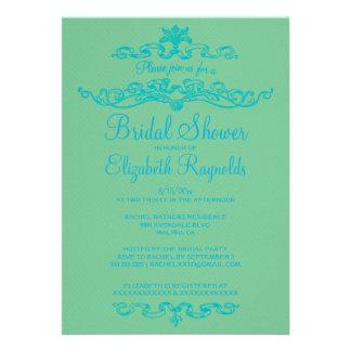 Luxury Blue & Green Bridal Shower Invitations Custom Announcement