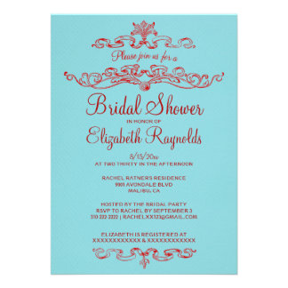 Luxury Blue & Red Bridal Shower Invitations Personalized Invite