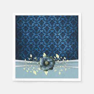 Luxury Blue Romantic Rose Damask Napkins