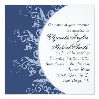 Luxury Blue Sun Floral Swirls Wedding Invite