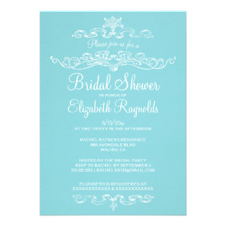 Luxury Blue & White Bridal Shower Invitations Custom Invitations