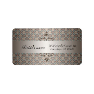 Luxury Brown Damask Swirls  Address label Address Label