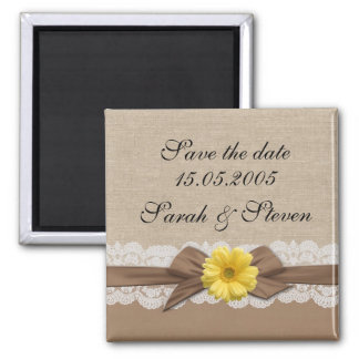 Luxury Brown Ribbon Burlap Lace Save the date 2 Inch Square Magnet