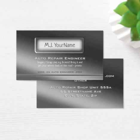 Luxury Brushed Steel Theme - Auto Engineer Business Card