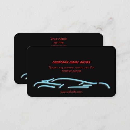 Luxury Car logo - Ice Blue Sportscar on black Business Card