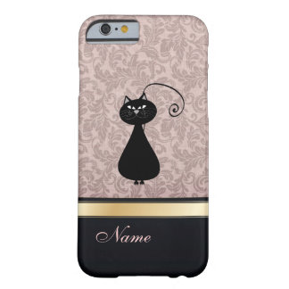 Luxury classy damask black cat personalized barely there iPhone 6 case