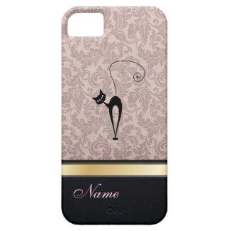 Luxury classy damask black cat personalized iPhone SE/5/5s case