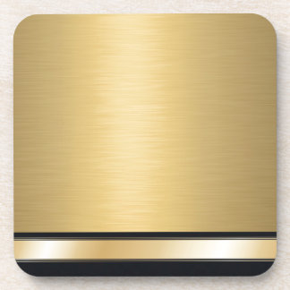 Luxury classy golden black personalized beverage coaster